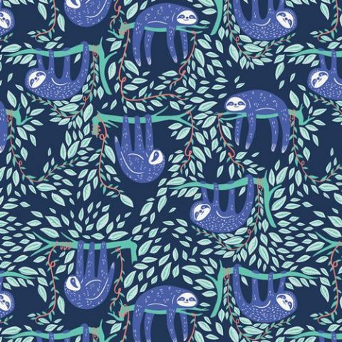 Swaying Sloths Serene  - Selva - Art Gallery Fabrics